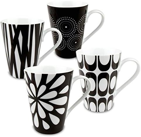 Konitz Assorted Mugs Black White Set of 4 product image