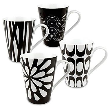 Konitz Assorted Mugs, Black/White, Set of 4