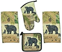 4 Piece Wilderness Trail Bear Country Kitchen Set - 2 Terry Towels, Oven Mitt, Potholder