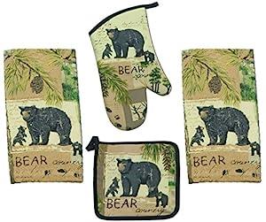 4 Piece Wilderness Trail Bear Country Kitchen Set - 2 Terry Towels, Oven Mitt, Potholder