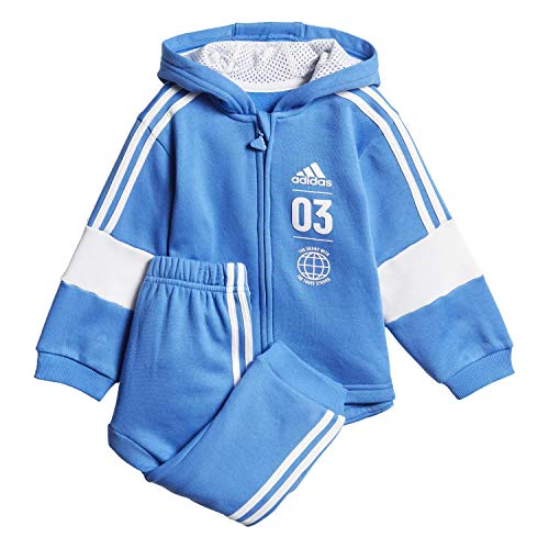 Adidas Logo Hooded Jogger set, Mehrfarbig  (true blue / white), Gr. 104