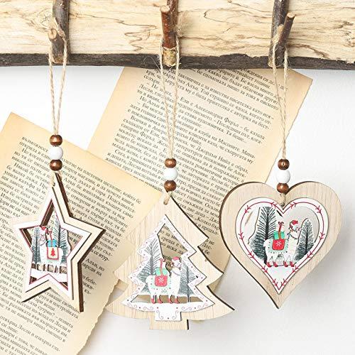 Longspeed Runde Rinde hohl Weihnachten Anhänger aus Holz kreative Weihnachtsbaum aus Holz Ornament Weihnachtsdekoration Alpaka - bunt