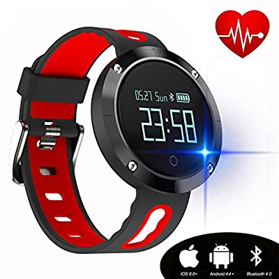 kingkok Blood Pressure Heart Rate Monitor Step Counter Watch Sleep Monitor Message Reminder Smart Fitness Trackers Waterproofs