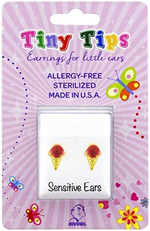 STUDEX Tiny Tips Stud Earrings Red Ice Cream Cone Tiffany Setting Hypoallergenic for Little product image