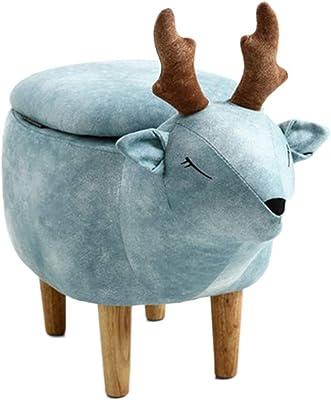 良木オットマン アニマルスツール 動物収納スツール 玄関 椅子 ベンチソファー 収納家庭用ソリッドウッドスツール、創造的な鹿のスツール、子供のソファのベンチ、ファッションスツール いす サイズ:63*34*41cm (ブルー)