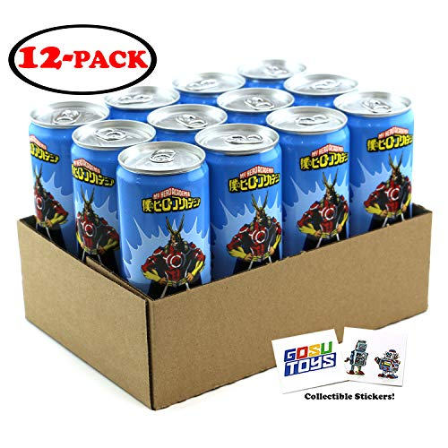 My Hero Academia All Might Plus Ultra Energy Drink 12 FL OZ (355mL) Can - 12 Pack Case With 2 GosuToys Stickers