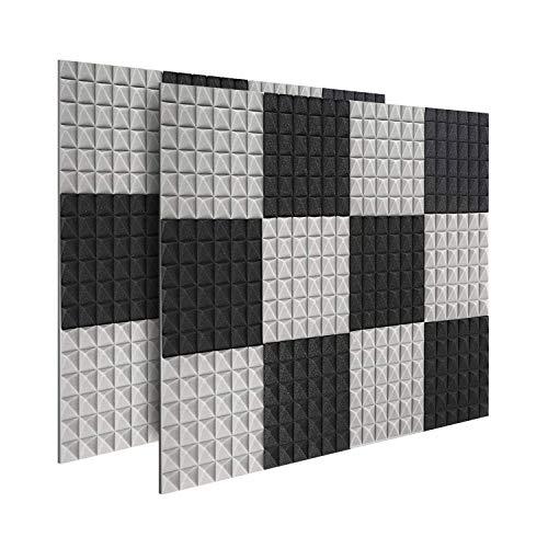 24 x Platten Akustikschaumstoff Noppenschaumstoff Akustik Schaumstoff Akustische Schalldämmplatten zur effektiven Akustik Dämmung für Studio Hause Schwarz & Grau ca. 25x25x5cm