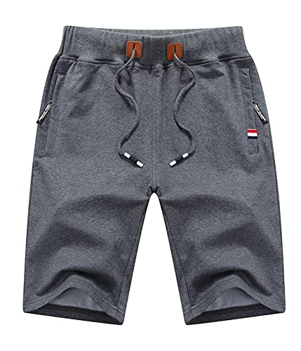 Leezepro Uomo Pantaloni Bermuda Sportivi Pantaloncini Corti in Cotone con Zip Tasche per Estate Fitness Casual Shorts (M, Grigio Scuro)