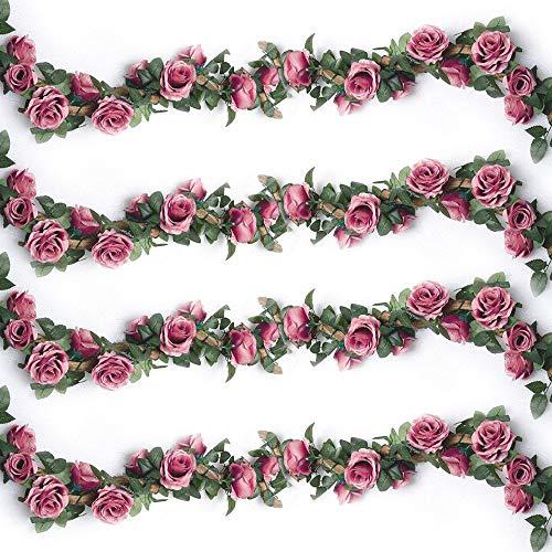 Ruiuzioong Künstliche Rosenranken, künstliche Rosen, Girlande, Seidenblumen zum Aufhängen, für Hotel, Hochzeit, Zuhause, Party, Garten, Handwerk, Arrangement Dekoration (Rosarot, 2 Stücke-10Flower)