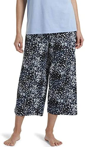 HUE Women s Printed Knit Capri Pajama Sleep Pant Dress Blues Wild Leo Large product image