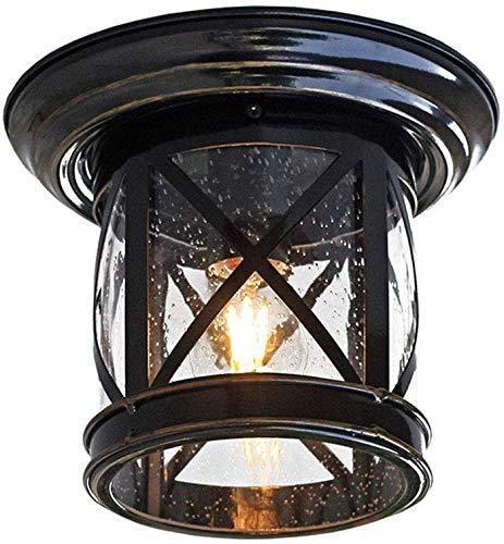 Mooie Home Decoratie Lampen Plafond Licht Vintage E27 Ronde Plafond Lamp Zwart Metaal en Glas Schaduw Waterdichte Balkon Lamp Industriële Retro Licht voor Loft Hal Trap Aisle Galley Keuken D