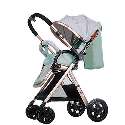 MMM @ La poussette de bébé de paysage élevé manipule les poussins réversibles de bébé peut s'asseoir et mentir le chariot pliable portatif de l'enfant d'Ulttralight chariot ( Color : Mint Green (1) )