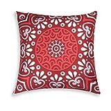 Excelsa Mandala - Cojín Decorativo, algodón y guata, Rojo, 45 x 45 cm
