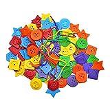 SunniMix Niños Montessori niños Botones de Hilado Juguete Educativo artesanía Colorido Pentágono Tangram ayudas de enseñanza Preescolar para niños pequeños