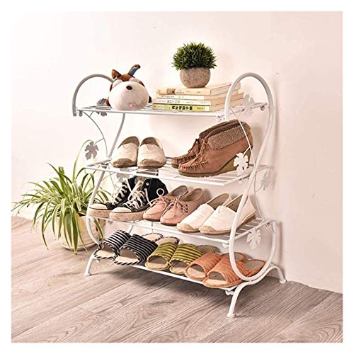 GJJSZ Zapatero zapatero de hierro, 4 estantes de almacenamiento para pasillo de entrada para 12 pares de zapatos, estante de almacenamiento