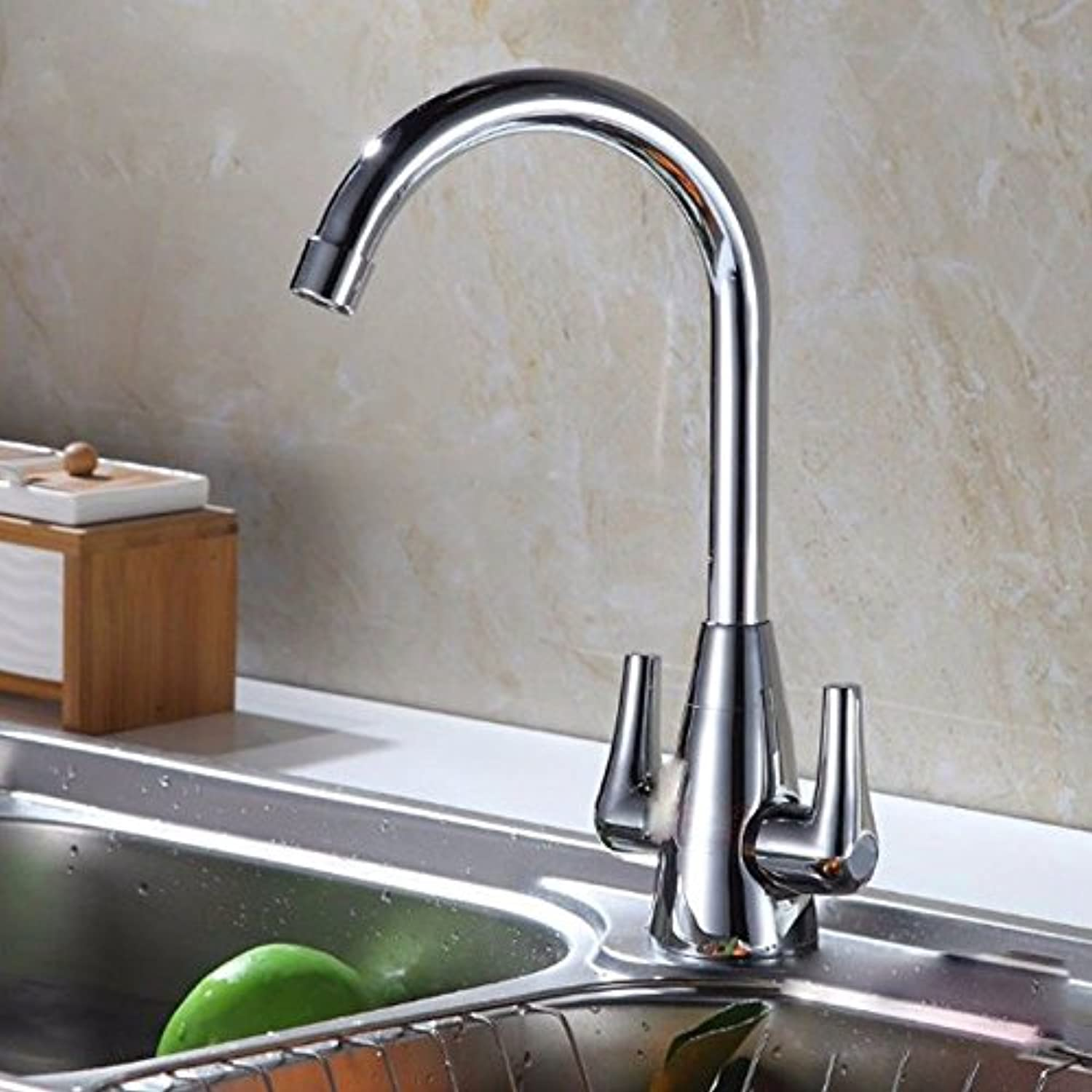 Lalaky Taps Faucet Kitchen Mixer Sink Waterfall Bathroom Mixer Basin Mixer Tap for Kitchen Bathroom and Washroom Full Copper Double Handle Single Hole Hot and Cold Mixing Valve