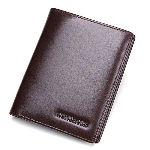 Contacts mannen portemonnee echt leer Tri Fold Short Wallet met foto / kaarthouder