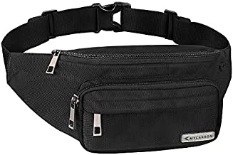 MYCARBON Fanny Pack for men and Women, Large Fanny Pack Waist Pack Bag Cute Hip Bum Non-Bounce Belt Non-Slip Cotton Durable Pouch with Adjustable Strap for Outdoors Casual Travel Hiking Black
