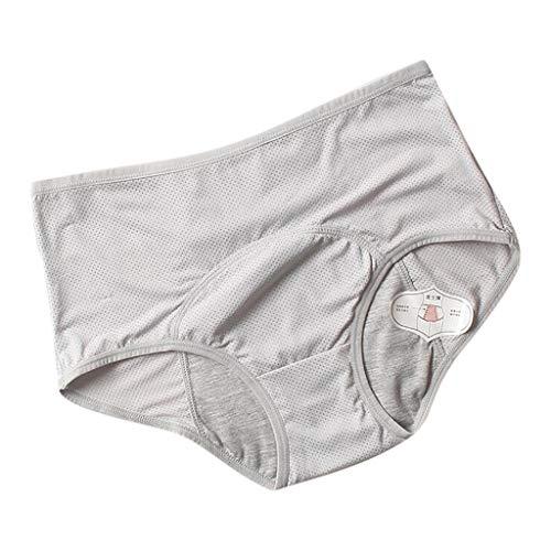ZYUEER Frauen Unterwäsche Physiologische Taille Hosen Plus Größe physiologische Hosen Menstruationsperiode auslaufsichere mittelhohe Taille Entlüftungsloch Hygienehosen Unterwäsche (Grau, L)