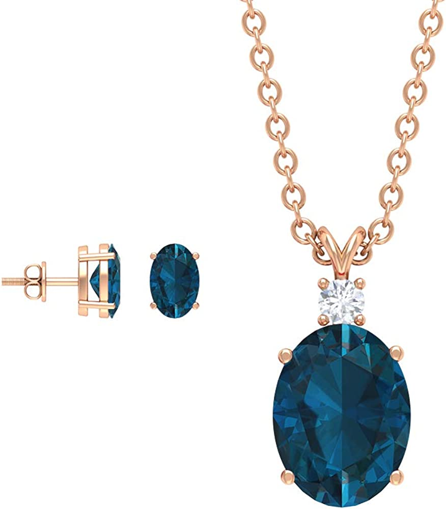 2.77 London Blue Topaz Earring and Necklace Set, Oval Blue Gemstone Jewelry, Solitaire Blue Topaz Stud Earring, Diamond Necklace Earring (AAA Quality),14K Rose Gold,Diamond
