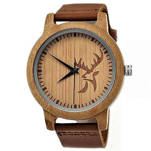 Handgefertigte Holzwerk Germany ® Designer Hirsch Öko Damen-Uhr Herren-Uhr Unisex Öko Natur Holz-Uhr Leder Armband-Uhr Analog Klassisch Quarz-Uhr in Braun mit Hirsch Motiv (Holzwerk-Hirsch)
