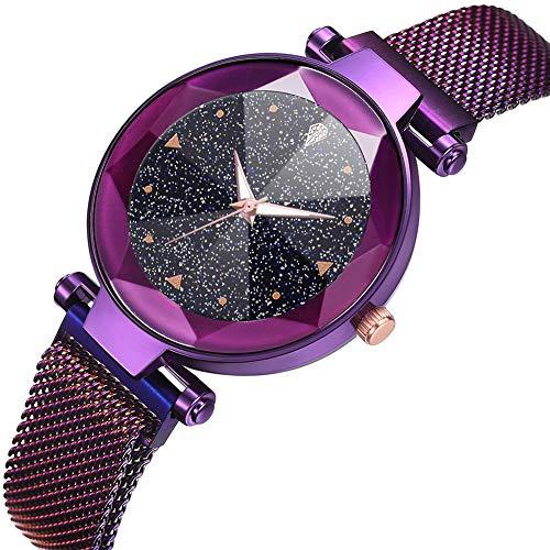 LJJOZ Moda Mujeres Cuarzo Reloj De Pulsera Magnet Botón Malla Correa Reloj De Pulsera Aleación De Marcación Redonda (púrpura)