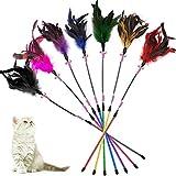 KTL Katzenspielzeug mit Feder, Katzenspielzeug, Katzen-Federstab mit Glöckchen, 7-teiliges Set