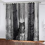 LucaSng Bosque Cortinas aislantes termicas Lobo Animal Cortinas habitacion Bebe 3D Patrón Cortinas Salon Dormitorio Moderno Reduccion Ruido Cortinas 91.5x214 cm