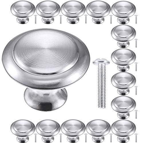 BETOY 15 pomelli rotondi a forma di fungo in acciaio inox, per cassetti, porte, armadi, cucine, colore: argento