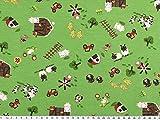 ab 1m: Kinderstoff, Baumwolljersey, Bauernhof, grün,