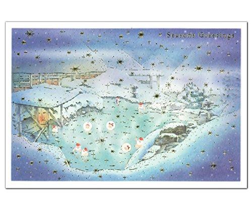 クリスマスカード 和風・海外向け 和風ミニサンタスルーカード SJ-18 温泉 グリーティングライフ Christmas card グリーティングカード