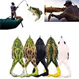HONESFRIENWL 5/10PCS Double Propellers Frogs Soft Bait,9CM Double Barb 360° Fishing Lures Double Loud Prop Weedless Design Wide Gap Hooks for Very...