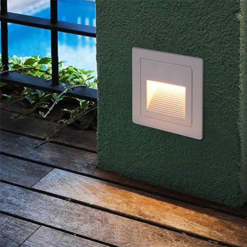 3-W-LED-Treppenlicht-Stufenleuchten Setzen Sie die Eck-Eckleuchte ein. Fußlicht Innen-Außen-wasserdichte Treppen-Stufenleuchte AC85 265V FR57 Warmweiß Weiß