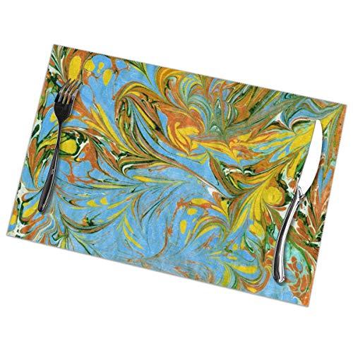 Dingl aquarel patroon marmer texturen schilderen op water Placemat wasbaar anti-slip voor keuken diner tafelmat, gemakkelijk te reinigen plaats Mat 12x18 Inch Set van 6