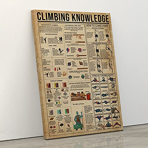 Audree Climbing Knowledge Wall Art, Climbing Knowledge Poster Essential Tool-Rope Types of Climbing and Climbing Knots & How to Climb A Rope Canvas Wall Art Teaching and Learning