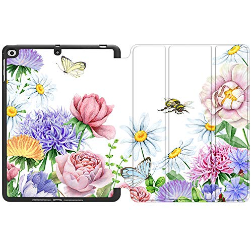 SDH New iPad 9.7 Inch 2018 2017 Case with Pencil Holder, iPad Air 1 / iPad Air 2 Smart Cover Folio Stand Protective for Apple iPad 5th 6th Gen Case (A1822/A1823/A1893/A1954), Flower World 3