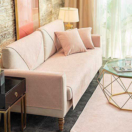B.H Protectores Antideslizantes para sofá para Mascotas,Cojín Universal para sofá de Cuatro Estaciones, Funda Antideslizante de Tela con Todo Incluido-Lotus Root Pink 9_90 * 90cm