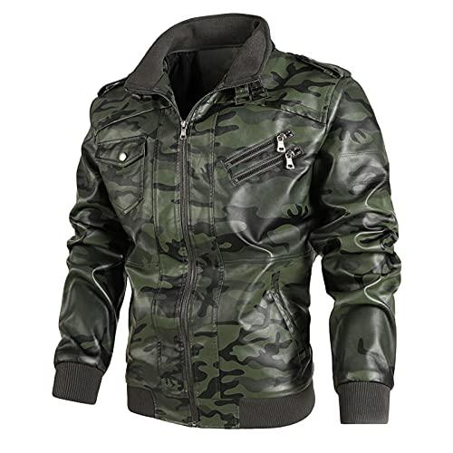 URIBAKY - Abrigo de piel para hombre, diseño de camuflaje, color más cachemira, verde, XL