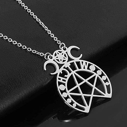 Yiffshunl Collar de Pentagrama Sobrenatural, Cadena de Acero Inoxidable para Mujer, Collares, joyería, Regalos, Collar, Regalo