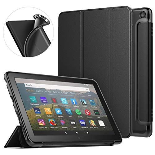 MoKo Case Fit All-New Kindle Fire HD 8 Tablet and Fire HD 8 Plus Tablet (10th Generation, 2020 Release) Case, Soft TPU Translucent Frosted Back Cover Slim Smart Shell, Auto Wake/Sleep - Black