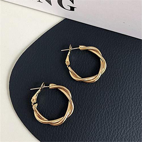 KYMLL 1 Paire de Boucles d'oreilles créatives torsadées Boucles d'oreilles créoles Sterling géométrie Simple Bijoux Exquis Cadeau pour Femmes Filles,d'or