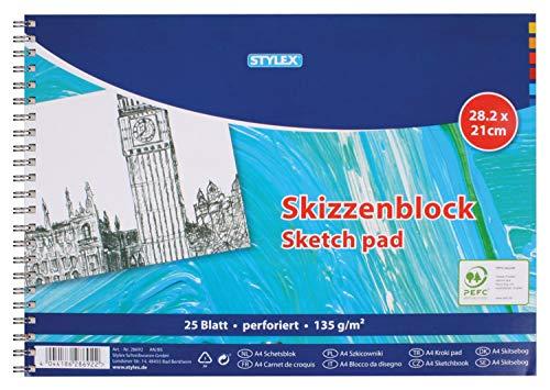 Stylex 28692 - Skizzenblock mit Spiralbindung, perforiert, 28,2 x 21 cm, 25 Blatt 135 g/m², geeignet für Bleistift, Kohle, Rötel, Wachskreiden, Pastellkreiden, Bunt- und Aquarellstifte