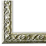 Bilderrahmen Mantova Silber 3,1 - WRF - DIN A4 (21,0 x 29,7 cm) - 500 Varianten - alle Größen - handgefertigt - Galerie-Qualität Antik, Barock, Modern, Shabby, Landhaus - Fotorahmen Urk&enrahmen Posterrahmen