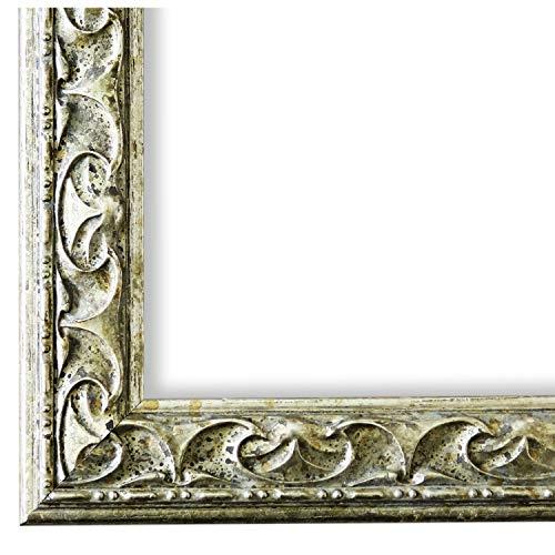 Bilderrahmen Mantova Silber 3,1 - WRF - DIN A4 (21,0 x 29,7 cm) - 500 Varianten - alle Größen - handgefertigt - Galerie-Qualität Antik, Barock, Modern, Shabby, Landhaus - Fotorahmen Urkundenrahmen Posterrahmen