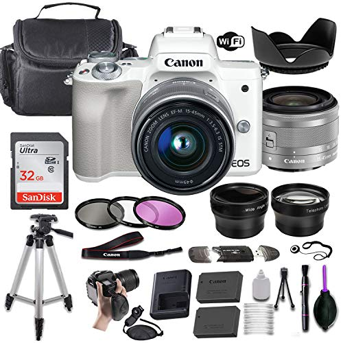 Canon EOS M50 Mirrorless Digital Camera (White) w/EF-M 15-45mm f/3.5-6.3 is STM + Wide-Angle and Telephoto Lenses + Portable Tripod + Memory Card + Deluxe Accessory Bundle