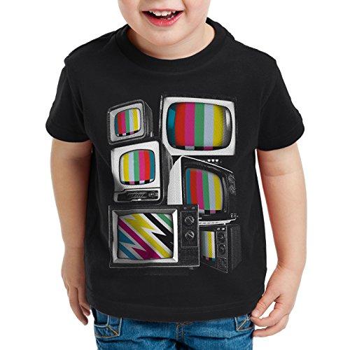 style3 Vintage Testbild Kinder T-Shirt Monitor Retro Fernseher TV, Größe:164