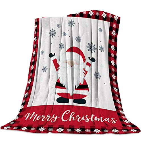 Infinidesign Super Soft Christmas Throw Blanket, Warm Cozy Lightweight Fleece Blanket for Bed Sofa Couch, Bedroom Living Room Blankets 50x60inch, Gnome Santa Claus and Snowflake Red Black Plaid