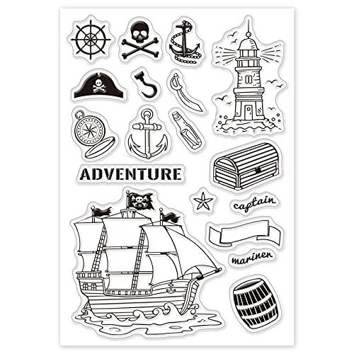 GLOBLELAND Segling äventyr tema silikon klara frimärken skattkista kompass piratskepp mönster akrylfrimärken för album foto scrapbooking kortdekoration, 160 x 110 mm
