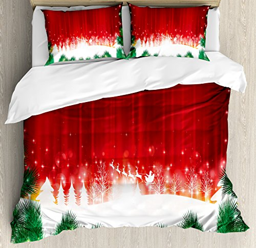 Ambesonne Christmas Duvet Cover Set, Blurry Xmas Carol Background with Santa Fir Rudolph Annual Festival Image, Decorative 3 Piece Bedding Set with 2 Pillow Shams, Queen Size, White Green