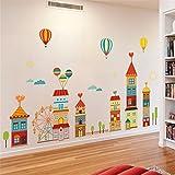 GroßEs Cartoon-Schlafzimmer Kinderzimmer-Wandtattoo Niedlicher Schulkindergarten Selbstklebende Tapete Ornament-Sticker 60 X 90 Cm